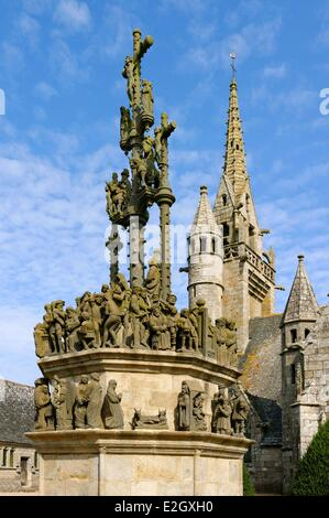 France Finistere stop on Way of St James Plougonven parish enclosure church and calvary - Stock Photo