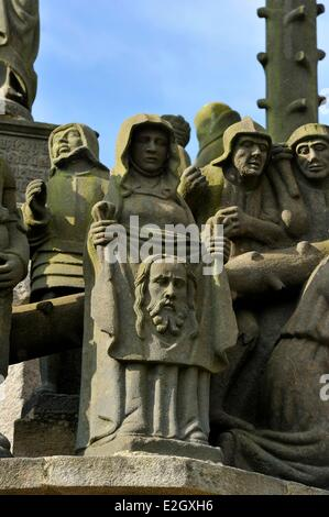 France Finistere stop on Way of St James Plougonven parish enclosure and calvary - Stock Photo