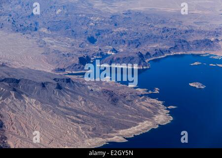 United States Nevada Lake Mead east of Las Vegas with Hoover Dam in background (aerial view) - Stock Photo
