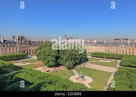 France Paris Place des Vosges in Marais district - Stock Photo