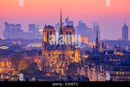 France Paris Notre Dame cathedral on Ile de la Cite with Arc de Triomphe and skyscrapers of La Dedense business - Stock Photo