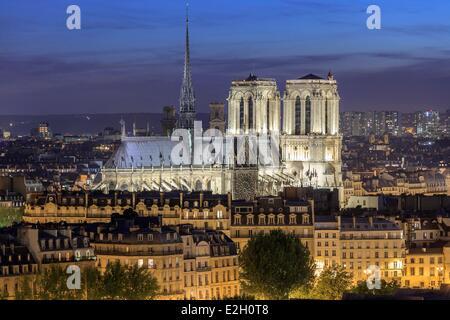 France Paris Notre Dame cathedral on Ile de la Cite illuminated at night - Stock Photo