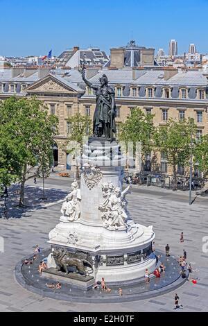 France Paris Place de la Republique square renovated in 2013 Republic Monument with Marianne statue - Stock Photo
