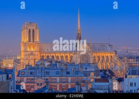 France Paris Notre Dame cathedral on Ile de la Cite with parisian rooftops - Stock Photo