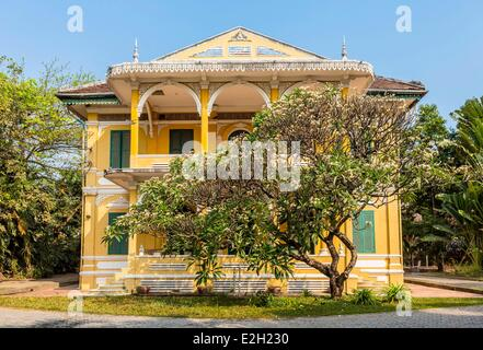 Cambodia Phnom Penh French colonial house in street 178 - Stock Photo