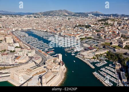France Bouches du Rhone Marseille European capital of culture 2013 1st and 2nd District Vieux Port (Old Harbour) - Stock Photo