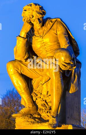 United Kingdom Warwickshire Stratford-upon-Avon Bancroft Gardens Gower Memorial monument in honor of William Shakespeare - Stock Photo