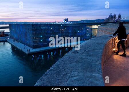 France Bouches du Rhone Marseille European capital of culture 2013 Esplanade J4 Euromed MuCEM or Museum of Civilization - Stock Photo