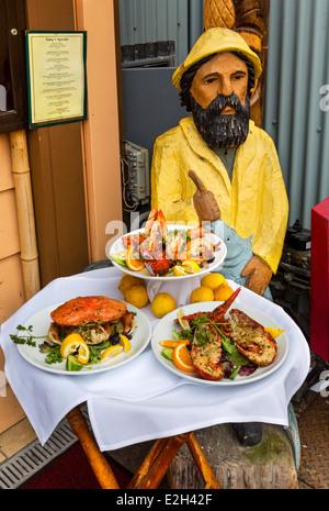 Fresh seafood display outside a restaurant on Old Fisherman's Wharf, Monterey, California, USA - Stock Photo