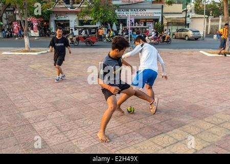 Cambodia Phnom Penh soccer play - Stock Photo