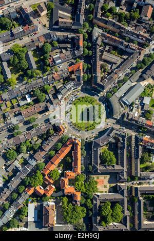 Borsigplatz square, aerial view, Dortmund, Ruhr Area, North Rhine-Westphalia, Germany - Stock Photo