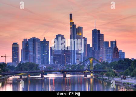 Skyline at dusk, TaunusTurm, Tower 185, Commerzbank, Messeturm, ECB, European Central Bank, Helaba, Landesbank Hessen - Stock Photo