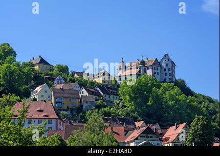 Burg Egloffstein Castle, castle of the High Middle Ages, Egloffstein, Upper Franconia, Franconia, Bavaria, Germany - Stock Photo