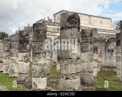 Temple of the Warriors in Chichen the Itza archaeological site in Yucatan, Mexico - Stock Photo