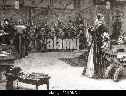 The trial of Mary Queen of Scots in Fotheringhay Castle, Northamptonshire, England, 1586. - Stock Photo