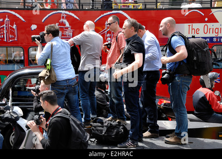 London, England, UK. Press photographers covering a demonstration in central London - Stock Photo