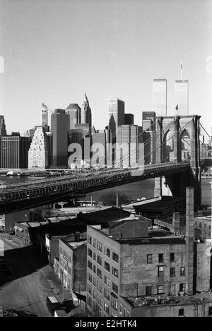 USA, New York State, New York City, view of Brooklyn Bridge with Manhattan in background - Stock Photo