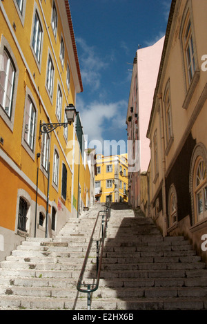Stairway between houses in Lisbon, Portugal - Stock Photo