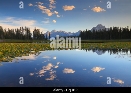 Beautiful summer sky reflected in Heron Pond near Colter Bay in Grand Teton National Park, Wyoming - Stock Photo