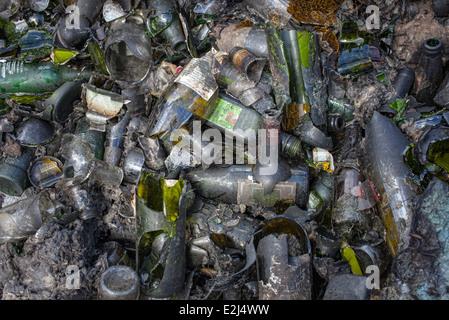 Broken glass bottles in a heap, full frame - Stock Photo