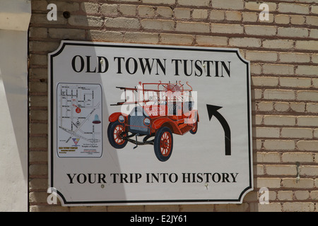 Old Town Tustin sign . Tustin is located in Orange County California. - Stock Photo