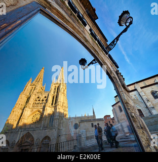 Cathedral of Saint Mary of Burgos reflected on a window, Saint Mary facade. Castile and Leon. Spain - Stock Photo