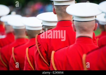 The United States Marine Drum and Bugle Corps, known as the Commandant's Own, performs at the Sunset Parade at the - Stock Photo