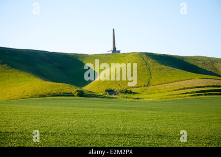Lansdowne monument obelisk on the chalk scarp slope of Cherhill Downs,  Cherhill, Wiltshire, England - Stock Photo