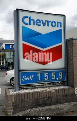 Gasoline pump at a Petro-Canada filling station showing gas price per litre, Vancouver, British Columbia, Canada - Stock Photo