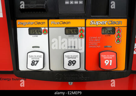 Close up of a gasoline pump at a Petro-Canada filling station showing gas prices per litre and octane, Vancouver, - Stock Photo