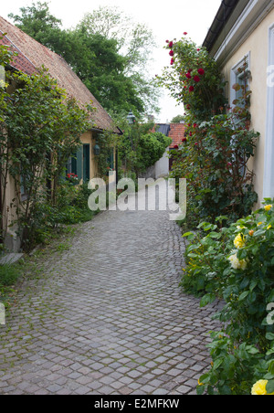 A typical street in the medieval town of Visby, on the island of Gotland, Sweden - Stock Photo
