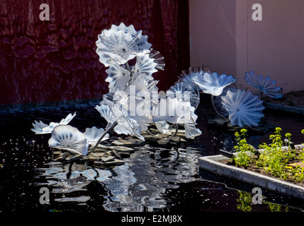 Dale Chihuly hand-blown glass art exhibit at the Denver Botanic Gardens - Stock Photo