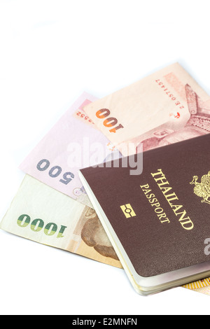 Thailand passport with Thai money ready to travel isolated on white background - Stock Photo