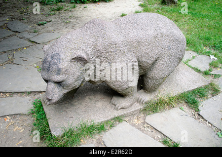 Granite sculpture in the form of a bear in Rousse Bulgaria - Stock Photo