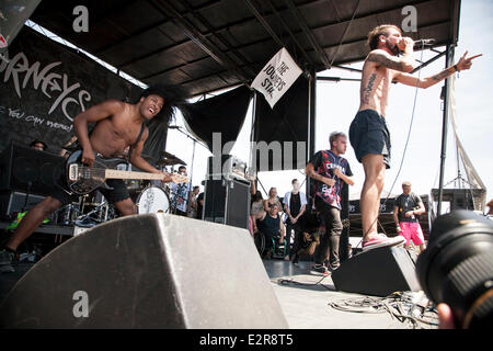 Pomona, CA, USA. 20th June, 2014. Issues performs  at the Vans Warped Tour. Thousands of young alternative music - Stock Photo