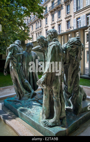 Burghers of Calais, sculpture by Auguste Rodin on display in the garden of Musee Rodin, Paris France - Stock Photo