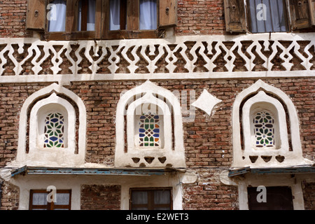 Stained glass windows in the old city, Sanaa, Yemen - Stock Photo