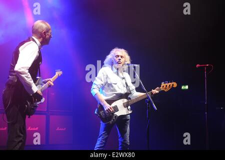 Status Quo performing at the Hammersmith Apollo  Featuring: Francis Rossie,Alan Lancaster Where: Hammersmith, London, - Stock Photo