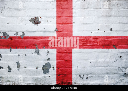 English (St George's Cross) Flag painted on a wall. - Stock Photo