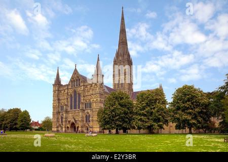 Salisbury Cathedral, Salisbury, Wiltshire, England, United Kingdom - Stock Photo