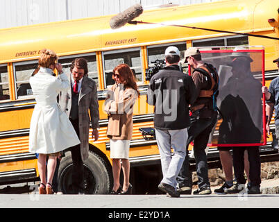Actors on the set of 'Untitled David O. Russell Project'   The 1970s-set true story of a con artist and his partner - Stock Photo