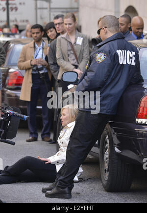 Actors seen on the set of 'Law and Order: SVU' in lower Manhattan  Featuring: Ice-T,Kelli Giddish Where: New York - Stock Photo