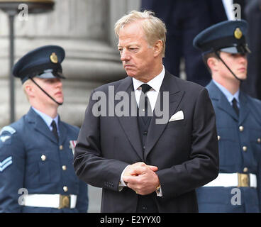Departures from St Pauls Cathedral after the funeral of Baroness Thatcher  Born Margaret Hilda Roberts on 13th October, - Stock Photo