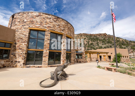 Great Basin Collared Lizard sculpture in front of the Escalante Interagency Vistiors Center in Escalante, Utah. - Stock Photo
