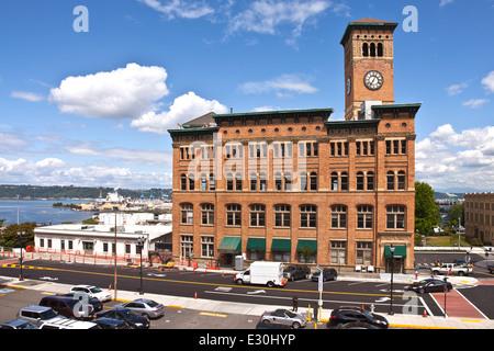 Clock tower building in Tacoma Washington. - Stock Photo