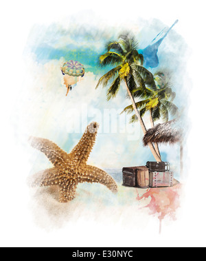 Watercolor Digital Painting Of Vacation Theme - Stock Photo