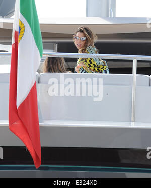 Claudia Galanti boards Roberto Cavalli's Yacht in Cannes Harbour  Featuring: Claudia Galanti Where: Cannes, France - Stock Photo