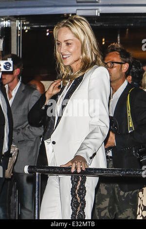 Sharon Stone attends a party on Roberto Cavalli's yacht during the 66th Cannes Film Festival - Day 8  Featuring: - Stock Photo