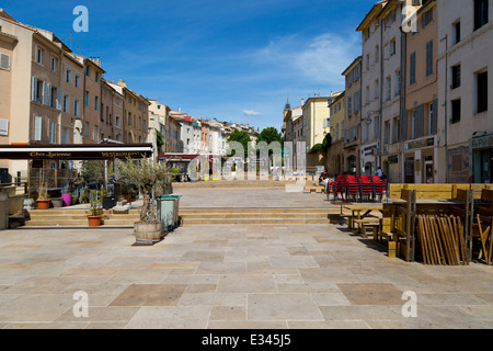 View over the Place Forum des Cardeurs in Aix-en-Provence, France - Stock Photo