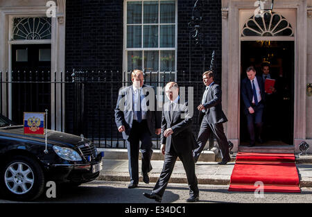 Russian President Vladimir Putin leaves 10 Downing Street after meeting with Prime Minister David Cameron  Featuring: - Stock Photo